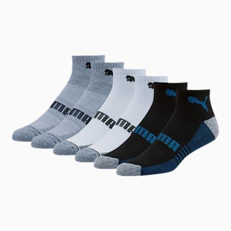 Men's Quarter Crew Socks [6 Pack], GREY / BLUE, small